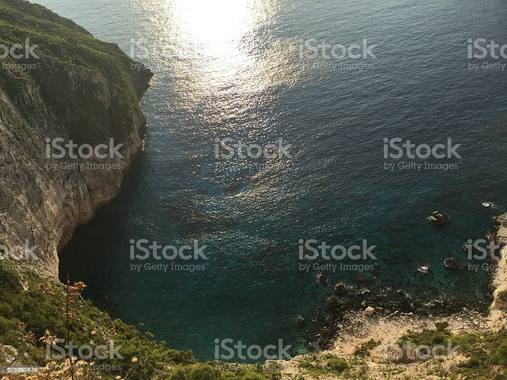 Awesome view from the top of rock, Zakynthos, Greece stock photo