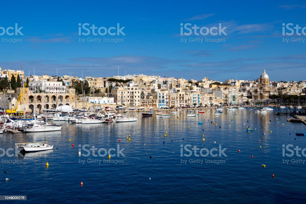 Awesome view of Kalkara Creek as seen from Birgu, Malta stock photo