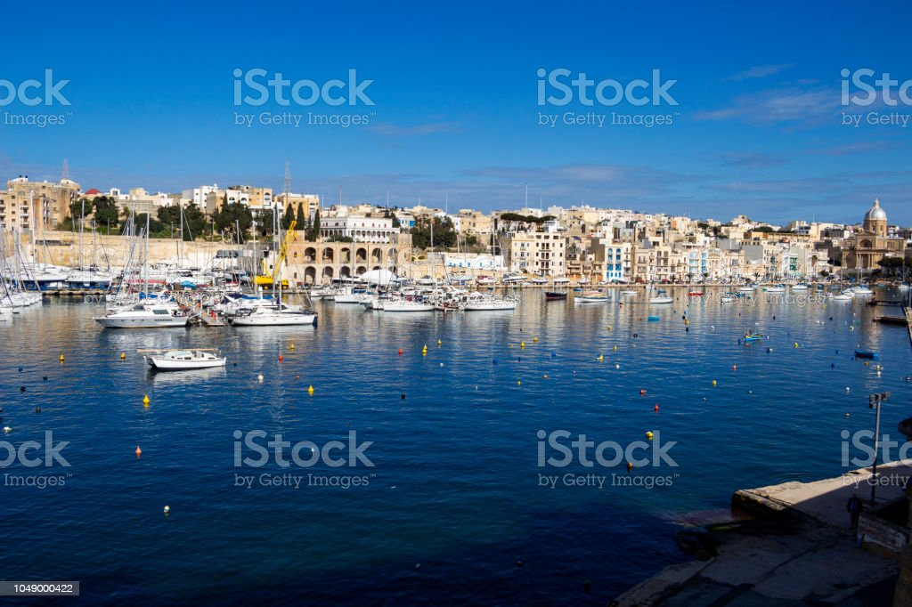 Awesome view of Kalkara Creek with the boat yard as seen from Birgu, Malta stock photo