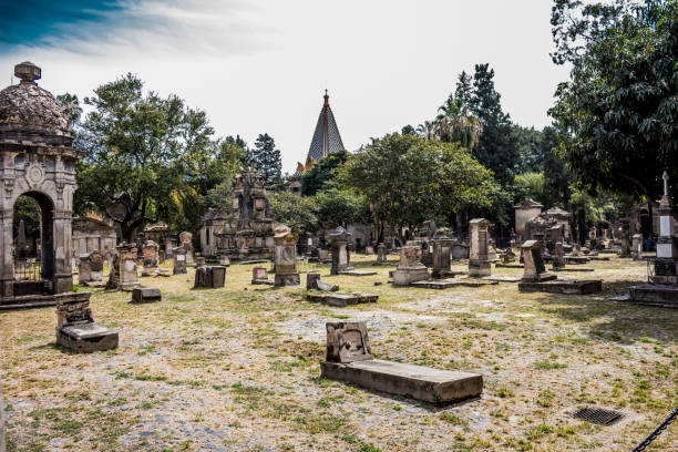 awesome view of the tombs in the cemetery of Belen stock photo