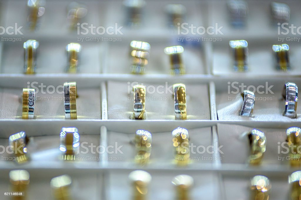 Awesome wedding rings stock photo