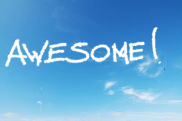 awesome schreiben - schrift am himmel stock-fotos und bilder