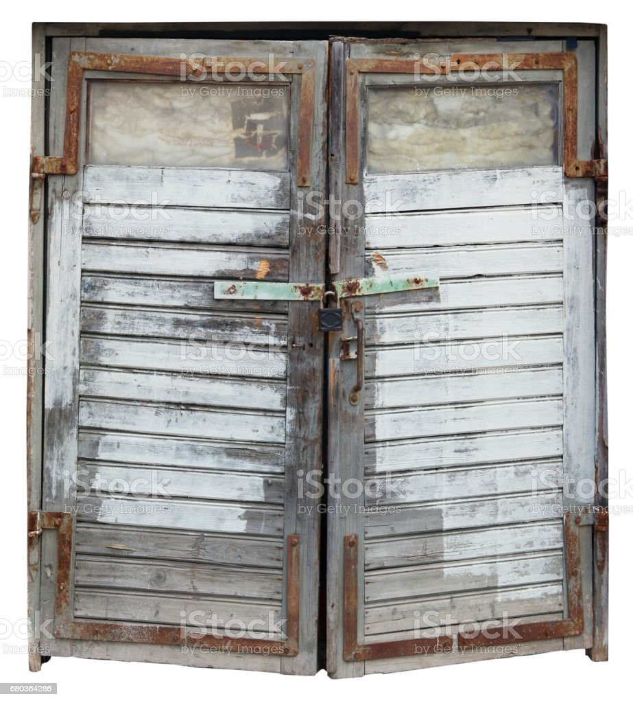 Awful aged vinage wooden gate of a rural shed concept. Isolated with patch royalty-free stock photo