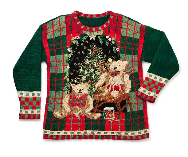 awful christmas sweater isolated on white - 過頭穿毛線衫 個照片及圖片檔