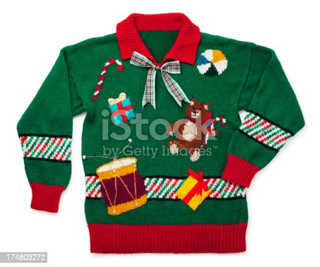 This is a really tacky Christmas sweater isolated on a white background. There is a clipping path included with this file.Click on the links below to view lightboxes.