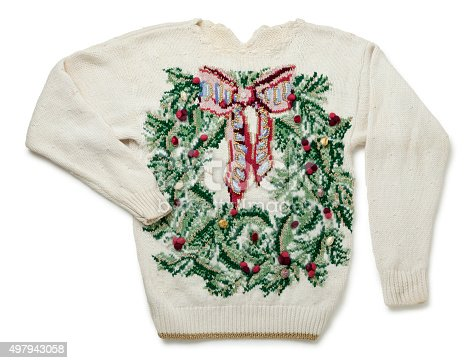 This is a really tacky Christmas sweater isolated on a white background.