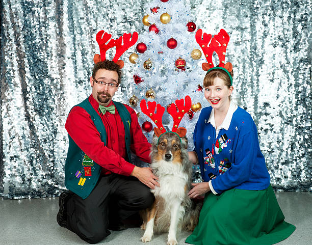 awkward christmas portrait - ugly sweater stock photos and pictures