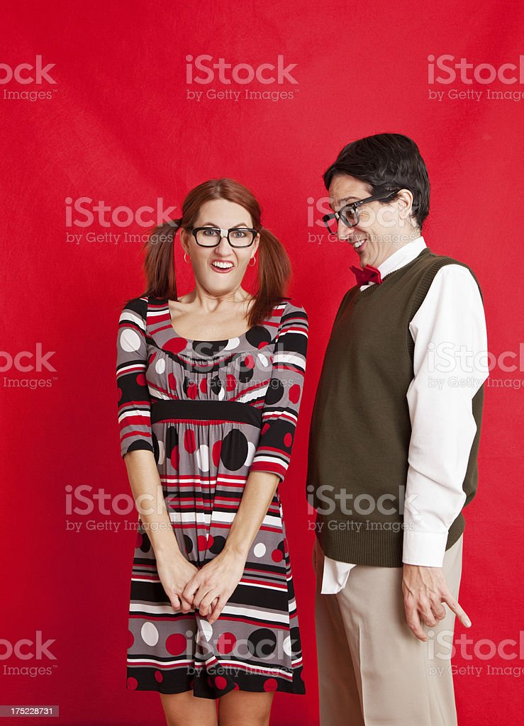 Awkward Nerd Couple royalty-free stock photo