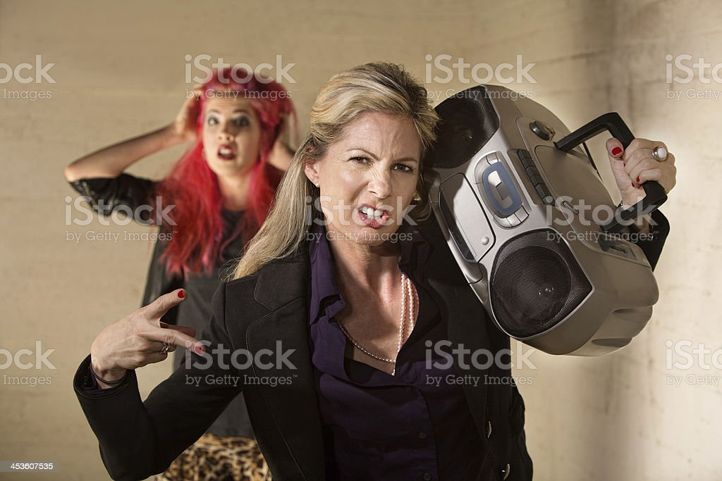 Awkward Woman with Boom Box stock photo