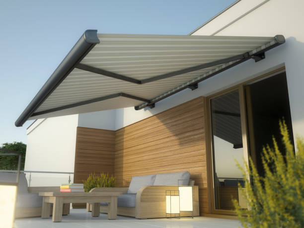 Awning and house terrace, 3D illustration Luxury awninig illustration canopy stock pictures, royalty-free photos & images