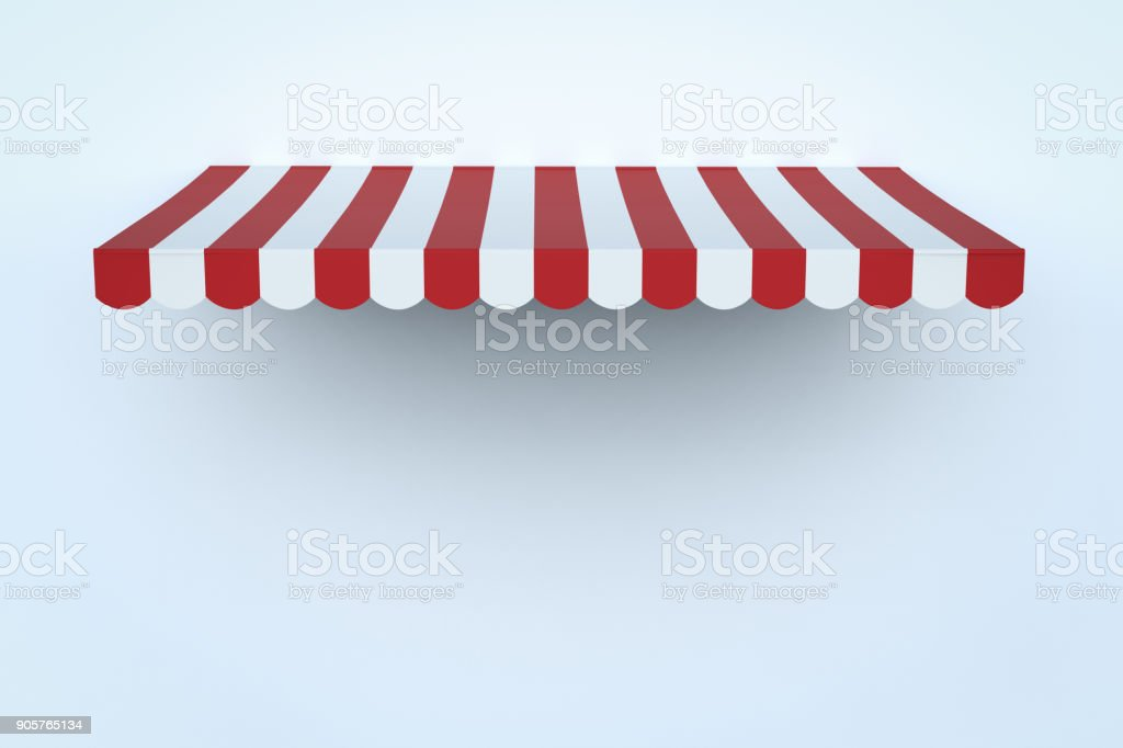 awning canopy on white wall stock photo