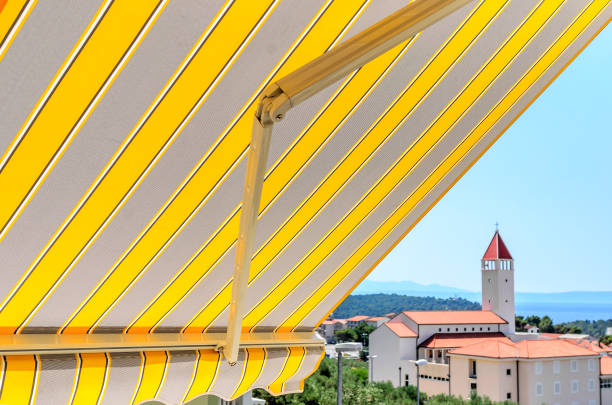 Awning over the balcony. stock photo