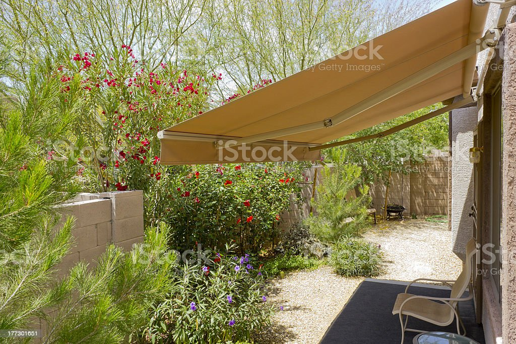 Awning Retracted over Doorway stock photo