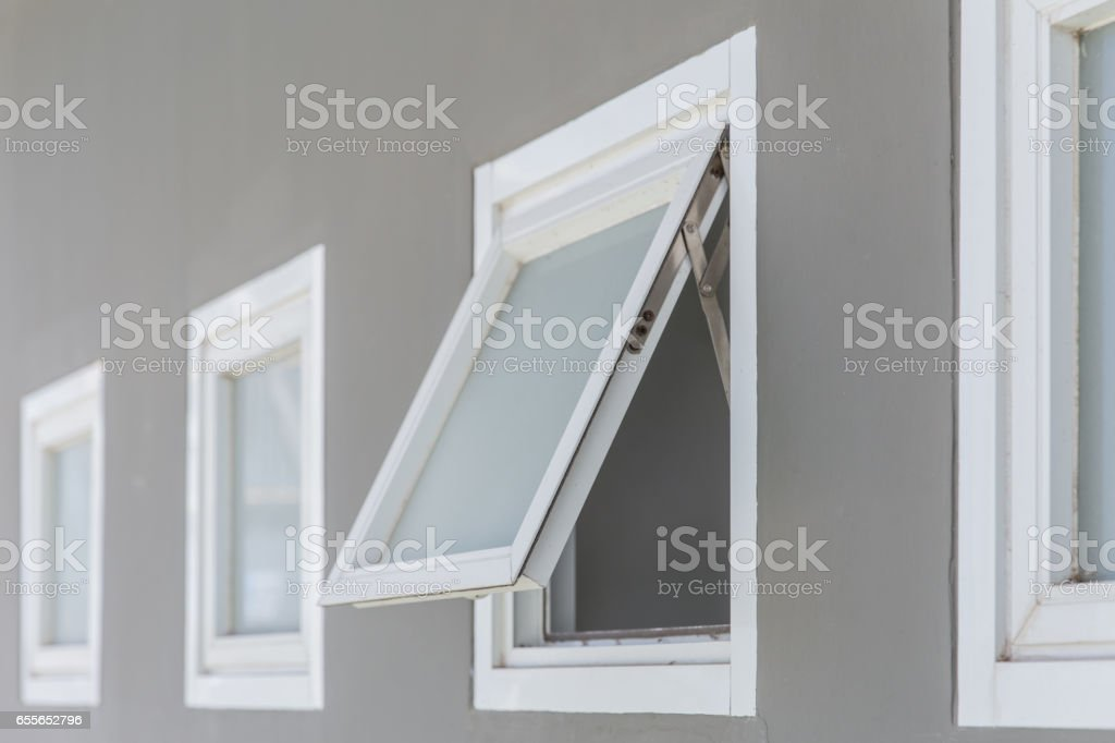 awning window open, modern home aluminium push windows. stock photo