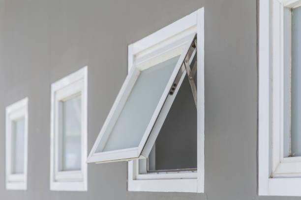 awning window open, modern home aluminium push windows. stock photo