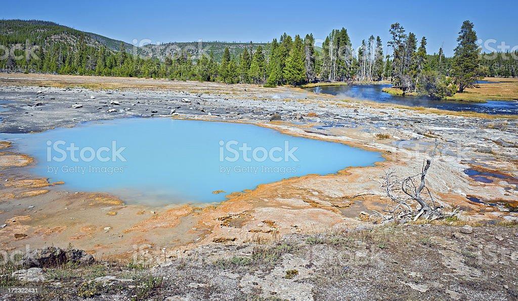Awsome Blue Pool in Yellowstone Wyoming USA royalty-free stock photo