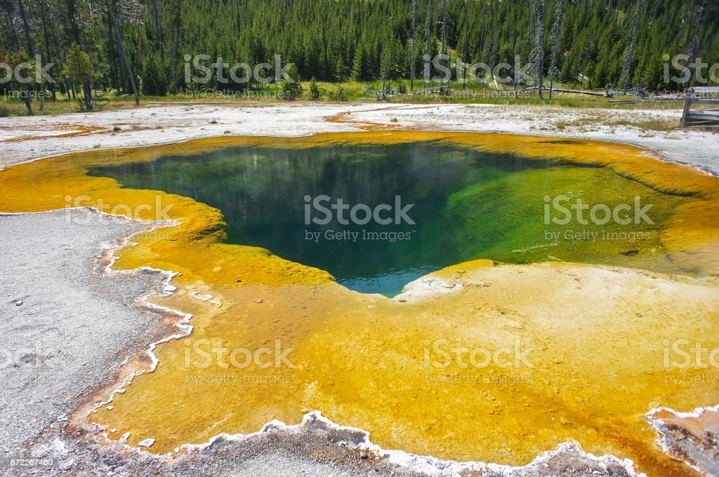 Awsome Multi Colored Black Sand Basin Lake in Yellowstone USA stock photo