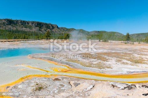 Orange-blue Grand Prismatic lake in Yellowstone National Park, Wyoming, USA.