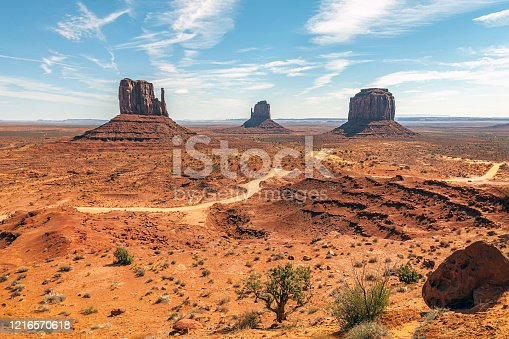 Beautiful landscape of Mitten Buttes in Monument valley Tribal Park, Arizona, USA,Nikon D3x