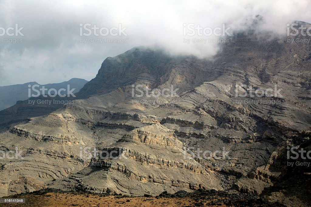 Awsome view in Jebel Harim Mountains, Musandam, Oman stock photo