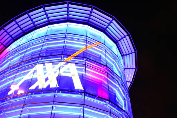 Axa insurance company building at Parque das Nações, Lisbon, Portugal - nocturnal stock photo