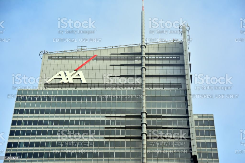 Axa sign neon. WTT Tower. stock photo