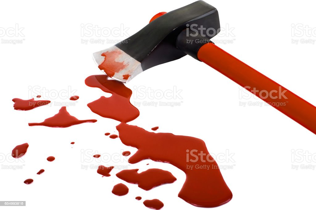 axe and  blood stock photo