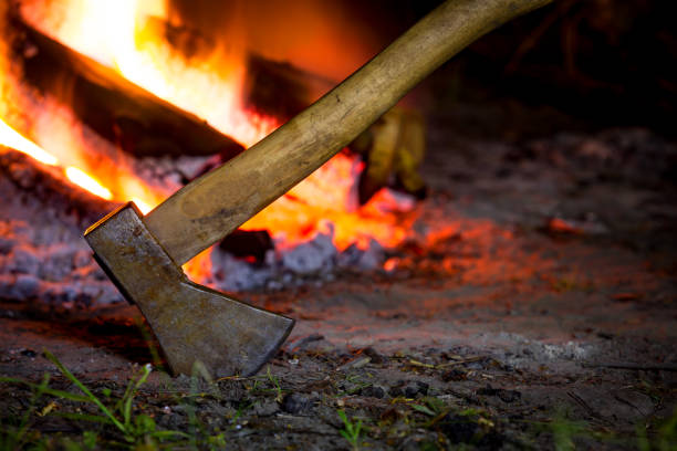 axe and fire stock photo