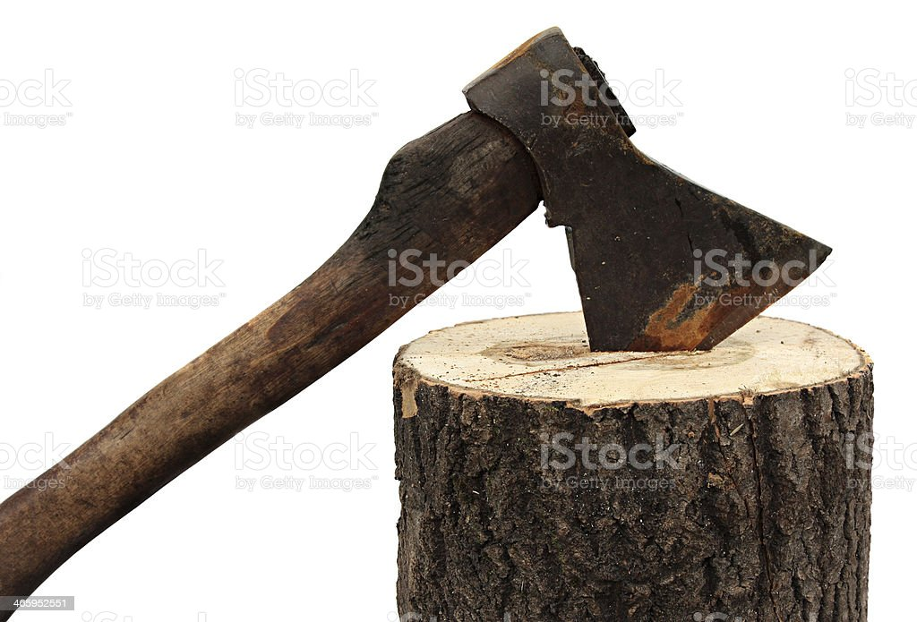 axe and firewood isolated on a white background. stock photo
