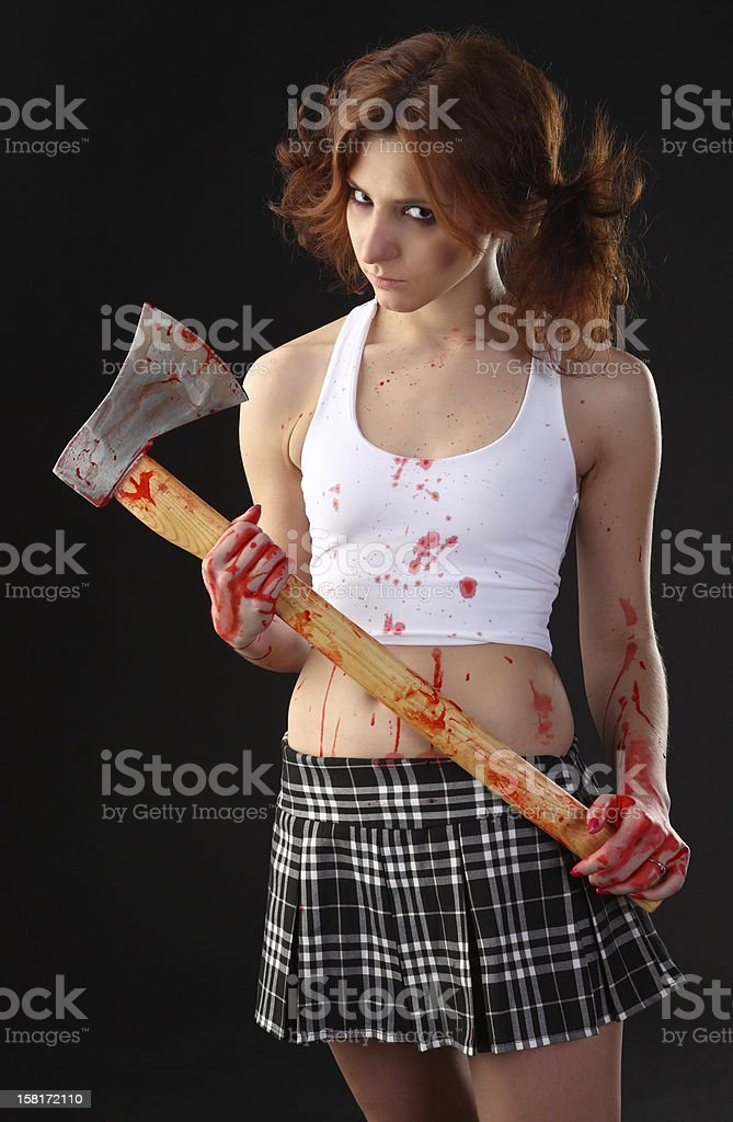 axe girl stock photo