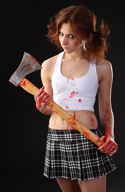 axe girl stock photo