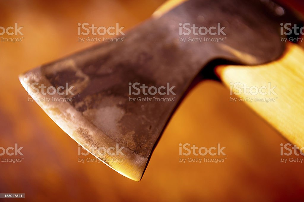 Axe Head with Orange Glow stock photo