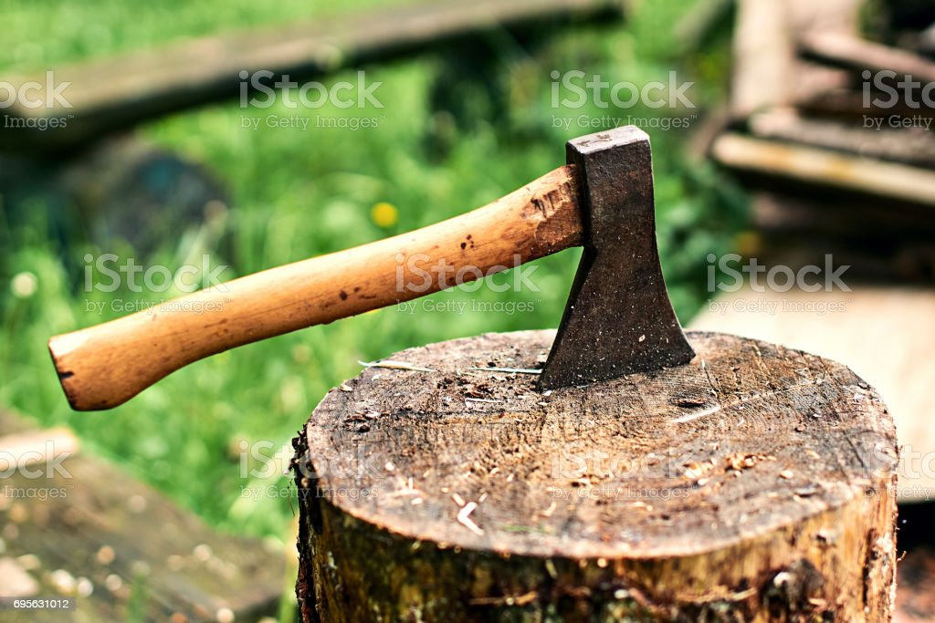 Axe in the stump stock photo