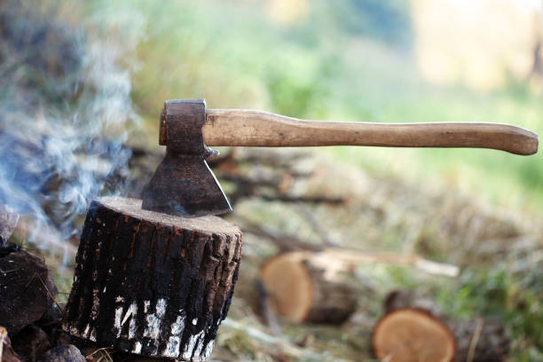 Axe in tree stump and smoke from campfire - foto stock