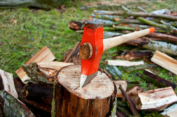 Axe on a wood log stock photo