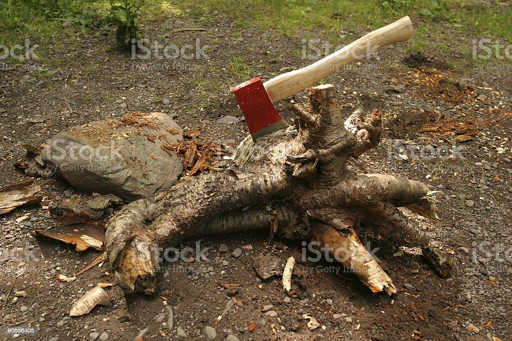 Axe on big wood piece at camp site royalty-free stock photo