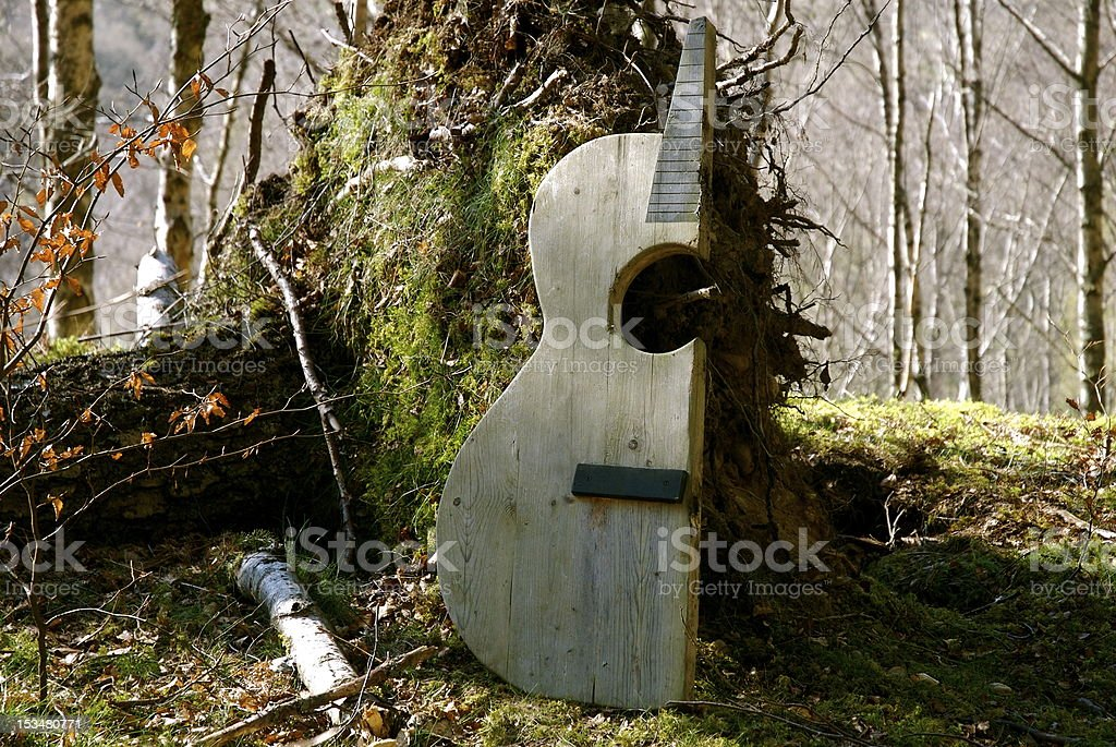Axed Guitar Don't know who the axeman was but he left this in the woods Guitar Stock Photo