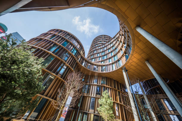 Axel Towers, modern office buildings in glass and copper, Copenhagen, Denmark stock photo
