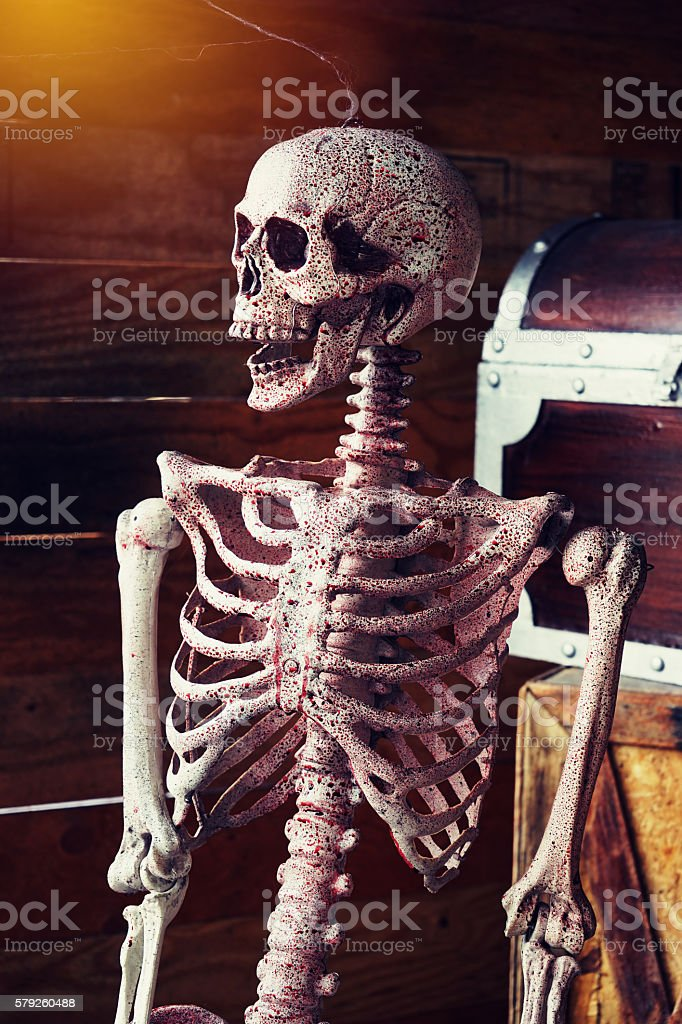 axial skeleton and blood with smiling , halloween decoration stock photo