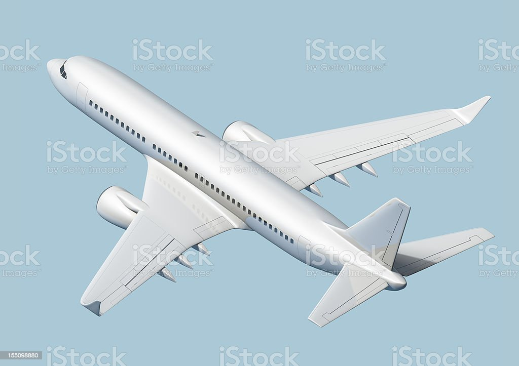 Axonometric view of passenger airplane isolated on blue background royalty-free stock photo