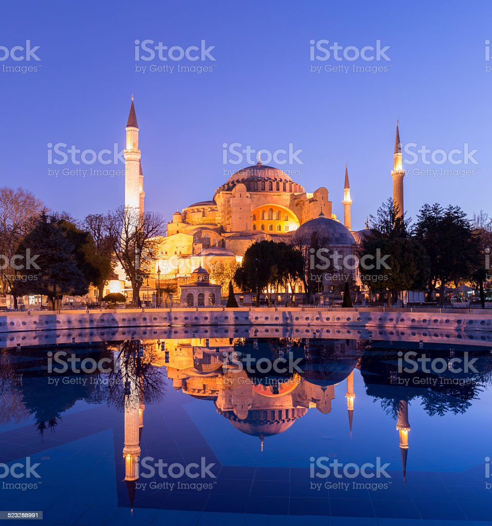 Aya Sofya Mosque in Istanbul at twilight stock photo