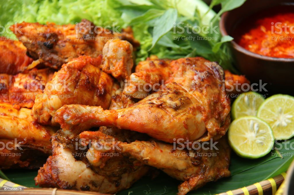 Ayam Bakar, Indonesian Char-grilled Chicken with Javanese Spices stock photo