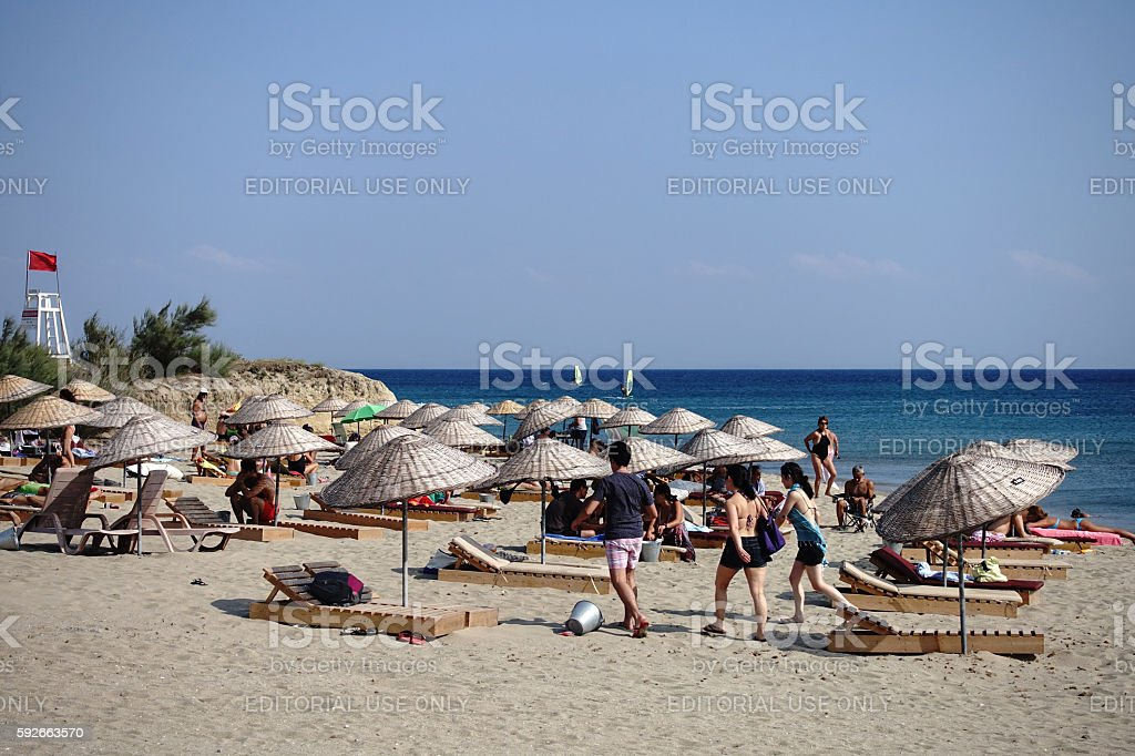 Aydincik beach in Gokceada island stock photo