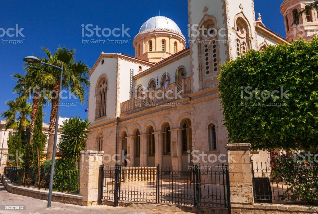 Ayia Napa Cathedral in Limassol, island Cyprus, Europe. Summer sunny bright day. Retro vintage toned image, film simulation. stock photo
