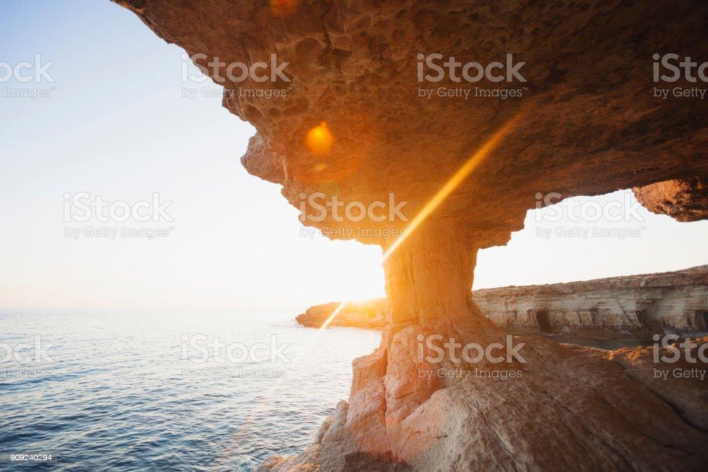 Ayia Napa, Cyprus. Sea caves of Cavo Greco Cape. stock photo