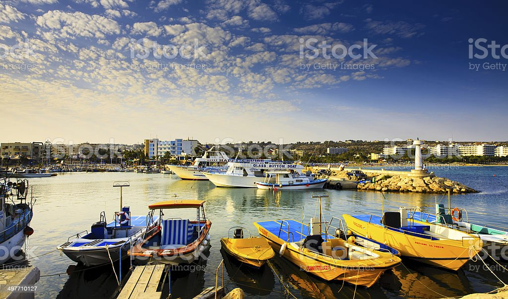 Ayia Napa harbor stock photo