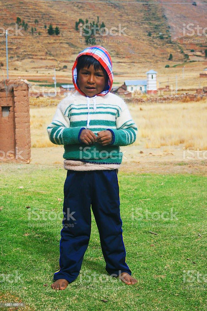 Aymara boy in the countryside stock photo