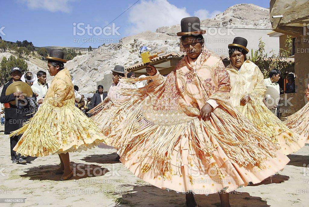 Aymara women at festival Morenada. stock photo