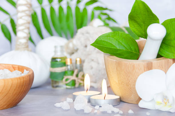 Ayurveda background. Spa and health care concept stock photo