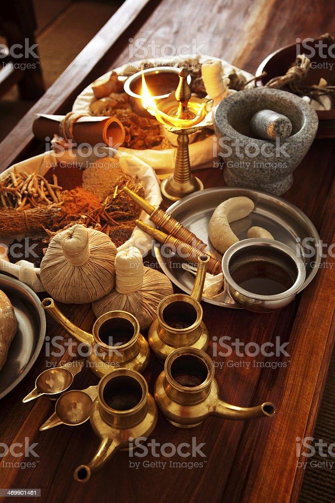 ayurveda herbal medicine supplies stock photo